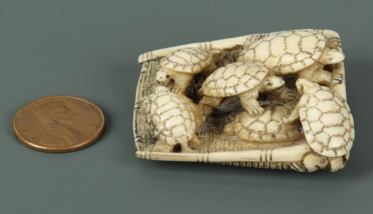 Lot 13: Carved Japanese Ivory Netsuke of Turtles