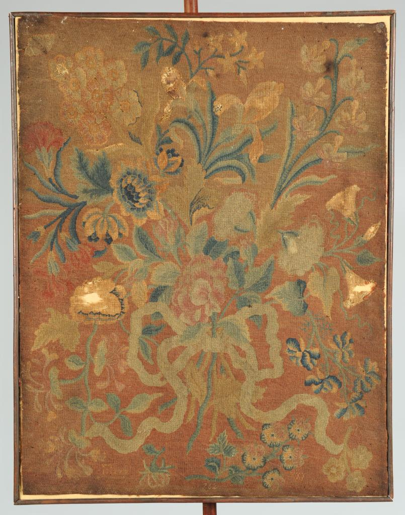 Lot 141: Pole Screen, needlework signed and dated 1762