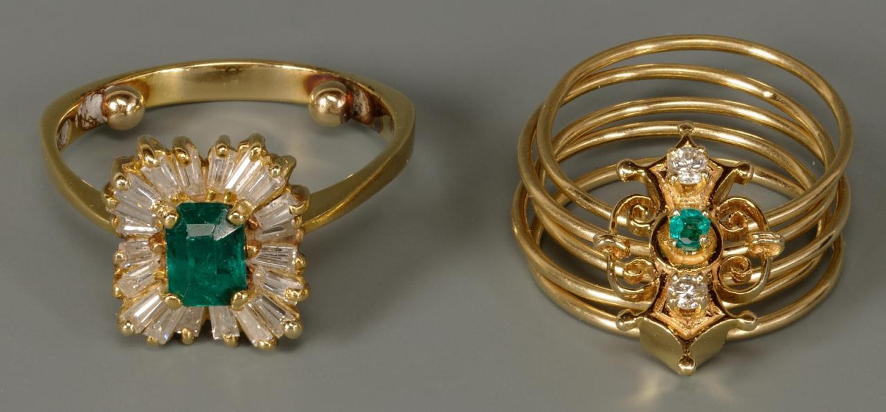 Lot 143: 18K Emerald and Diamond Ring & 14K Victorian slide