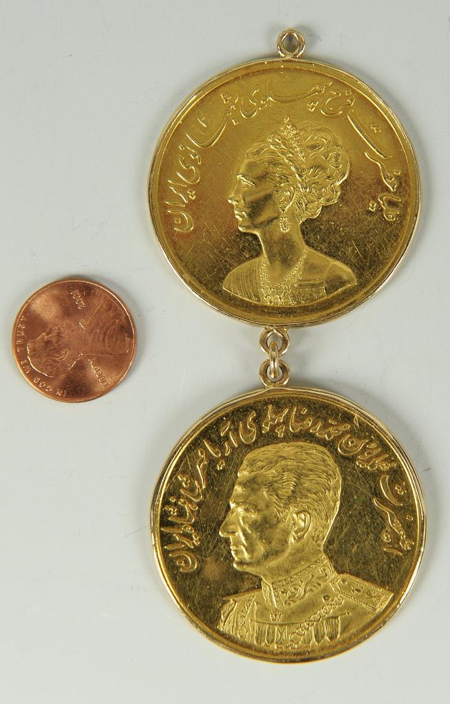 Lot 144: Two Shah of Iran Gold Coins, 52.9 grams