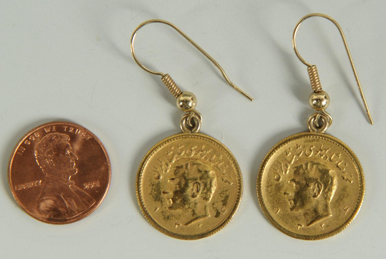 Lot 145: Pr. Shah of Iran Gold Coin Earrings