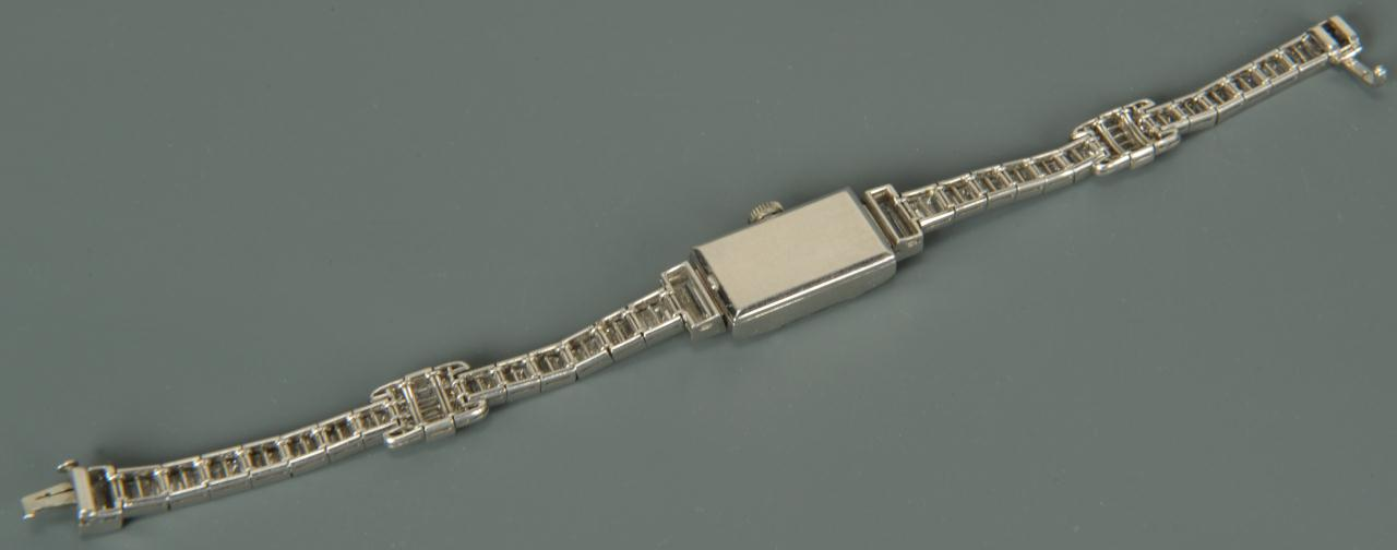Lot 148: Art Deco Diamond Platinum Ladies Watch, 10cts