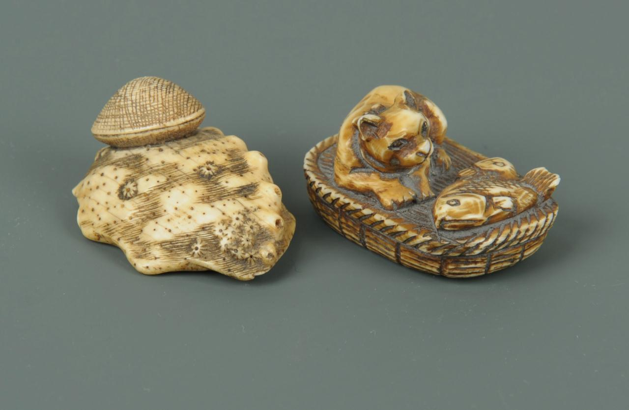Lot 14: 2 Carved Japanese Ivory Netsukes, Dog and Clam