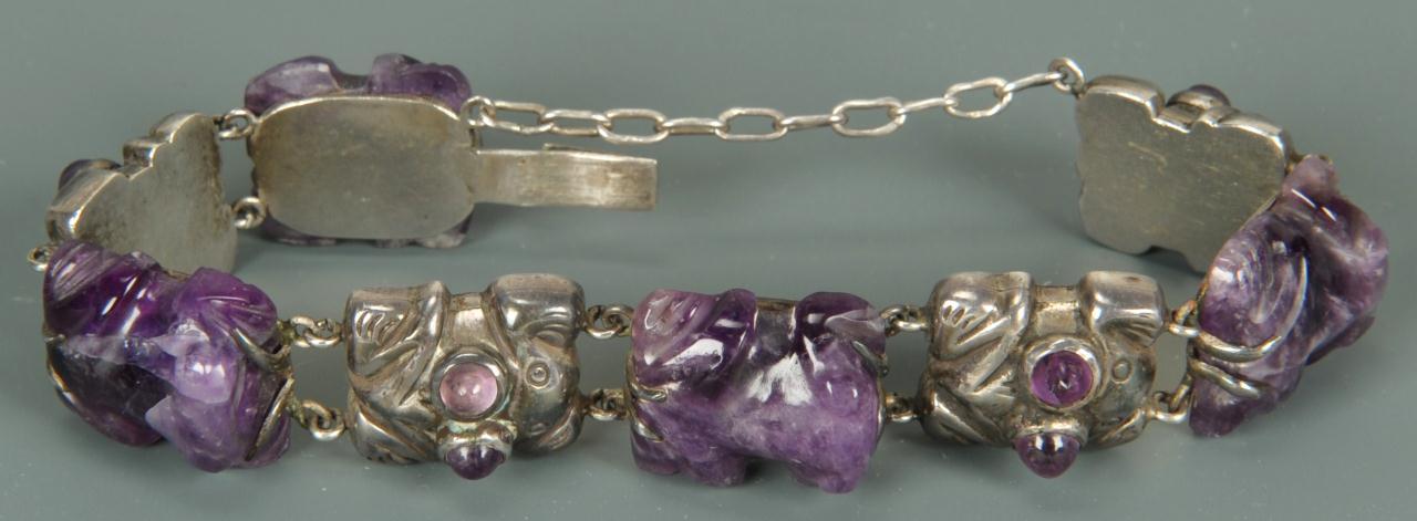 Lot 151: Spratling Silver and Amethyst Frog Bracelet