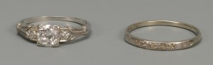 Lot 154: Ladies Platinum and Diamond Ring w/ Band
