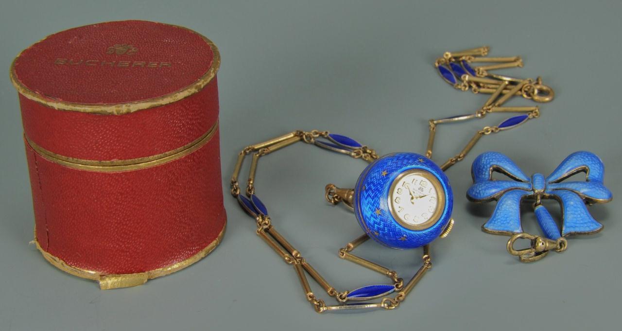Lot 155: Bucherer guilloche blue enamel pendant watch