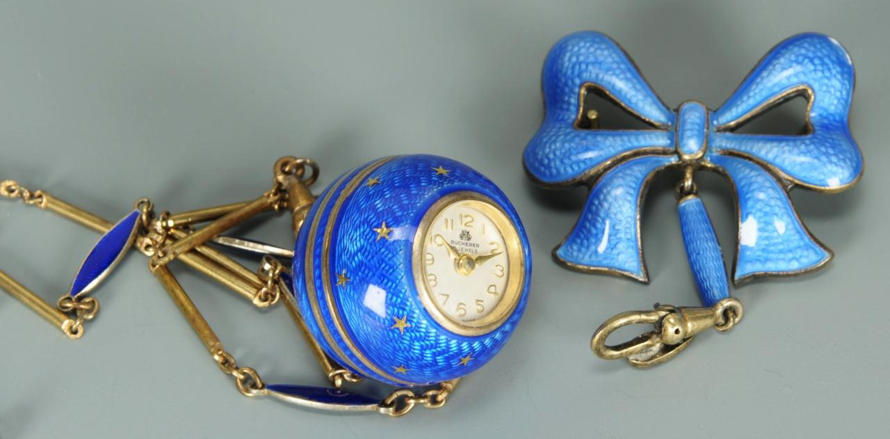Lot 155: Bucherer guilloche blue enamel pendant watch