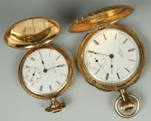 Lot 157: Two 14K Elgin Hunting Case Watches