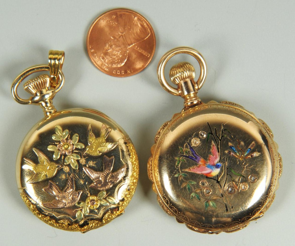 Lot 158: Two 14K Waltham Hunting Case Watches w/ Birds