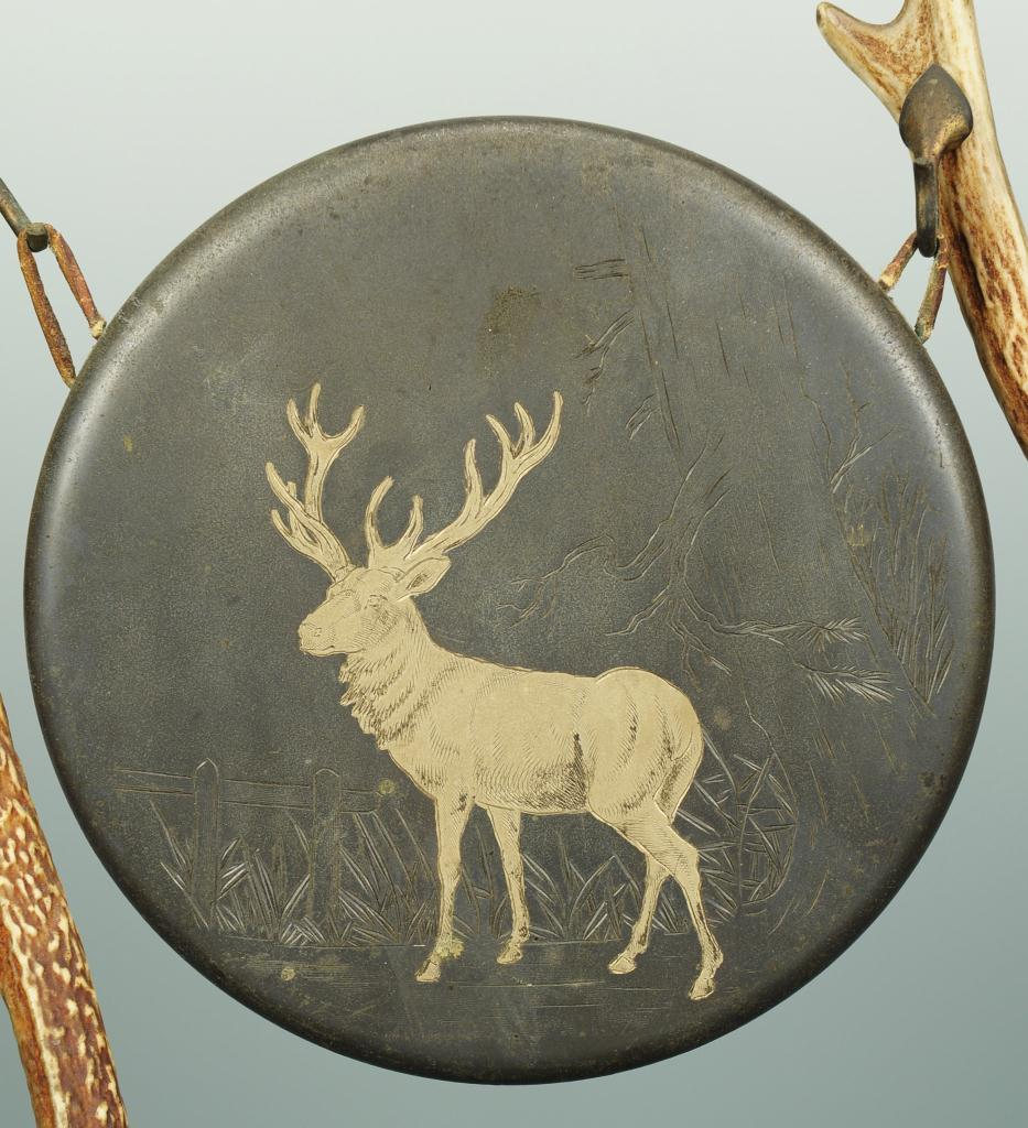 Lot 166: Bronze and Antler-Mounted Gong