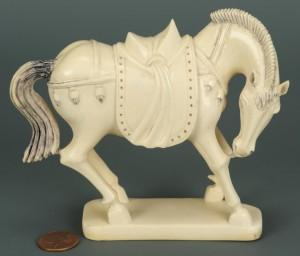 Lot 16: Finely carved ivory horse okimono