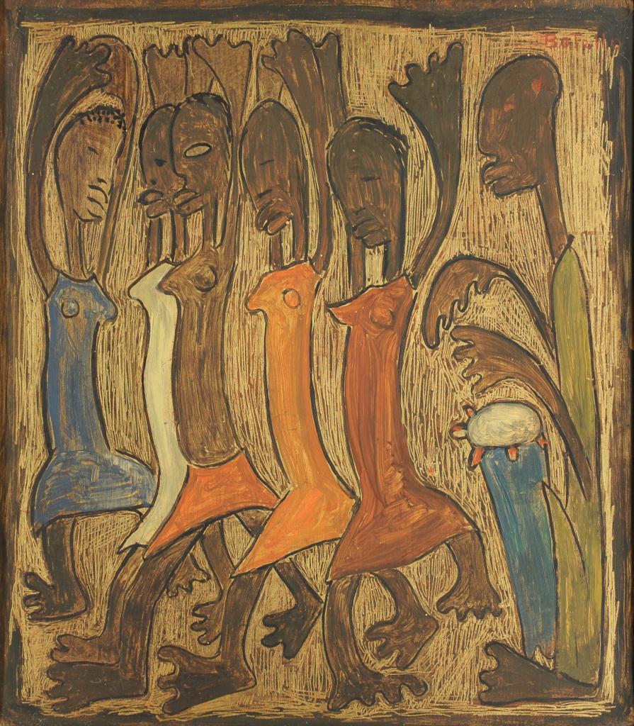 Lot 178: Angel Botello Oil on Board, Dancing Women