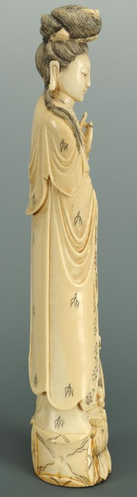 "Lot 17: Carved ivory Guan Yin figure with vase, 12""H"
