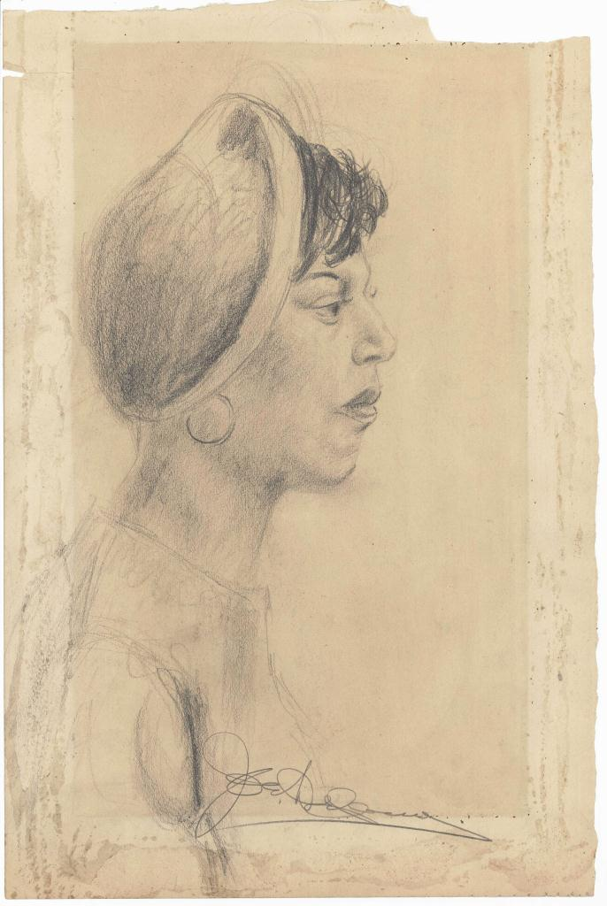 Lot 184: Joseph Delaney Pencil Sketch of Black Female