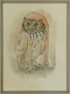 Lot 186: Werner Wildner painting, Owl in Nightcap