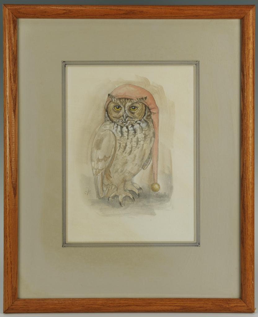 Lot 186: Werner Wildner painting, Owl in Nightcap