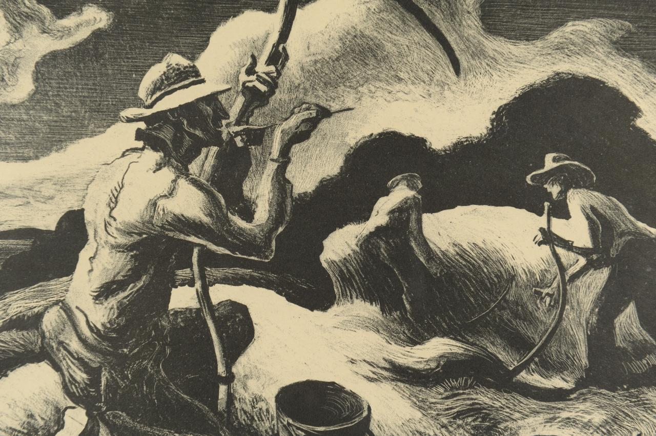 "Lot 188: Signed Thomas H. Benton Litho ""Island Hay"""