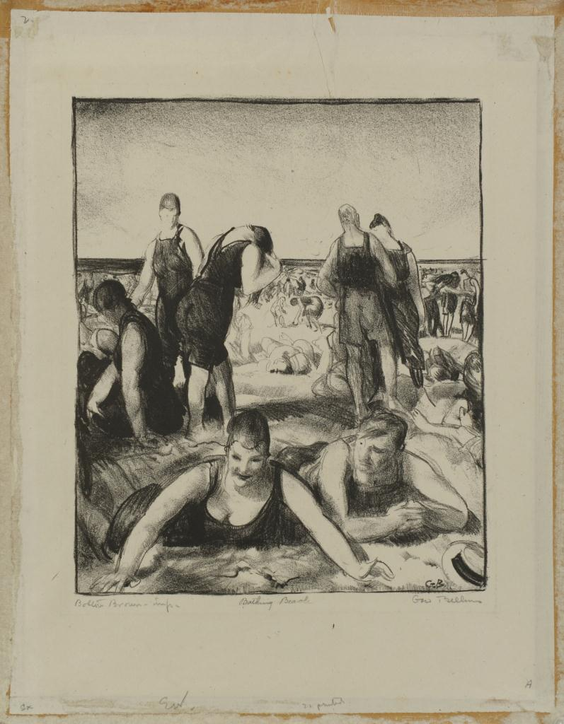 Lot 189: George Bellows signed Lithograph, Bathing Beach