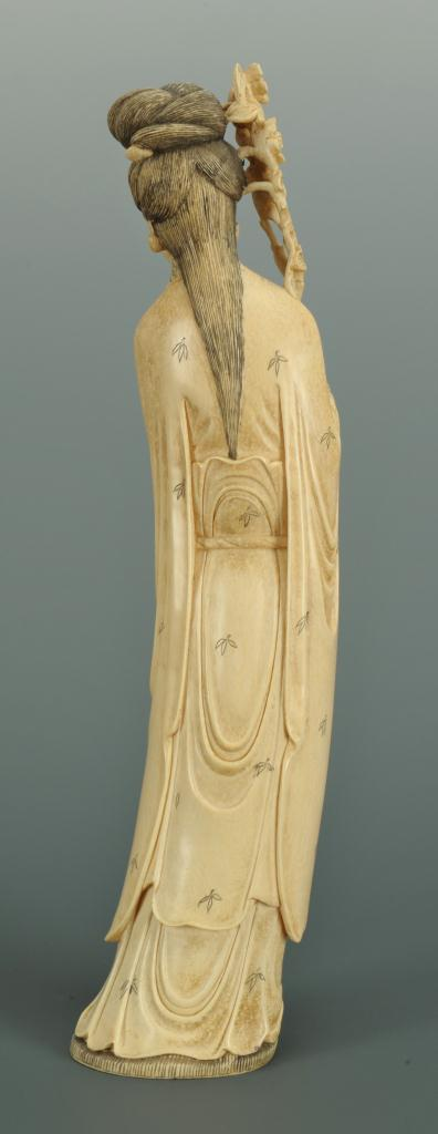 "Lot 18: Carved ivory Guan Yin figure with prunus, 12""H"