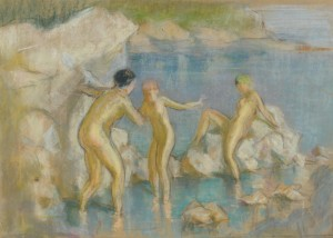 "Lot 190: Gaston Cirmeuse pastel on paper, ""Les Baigneuses"""
