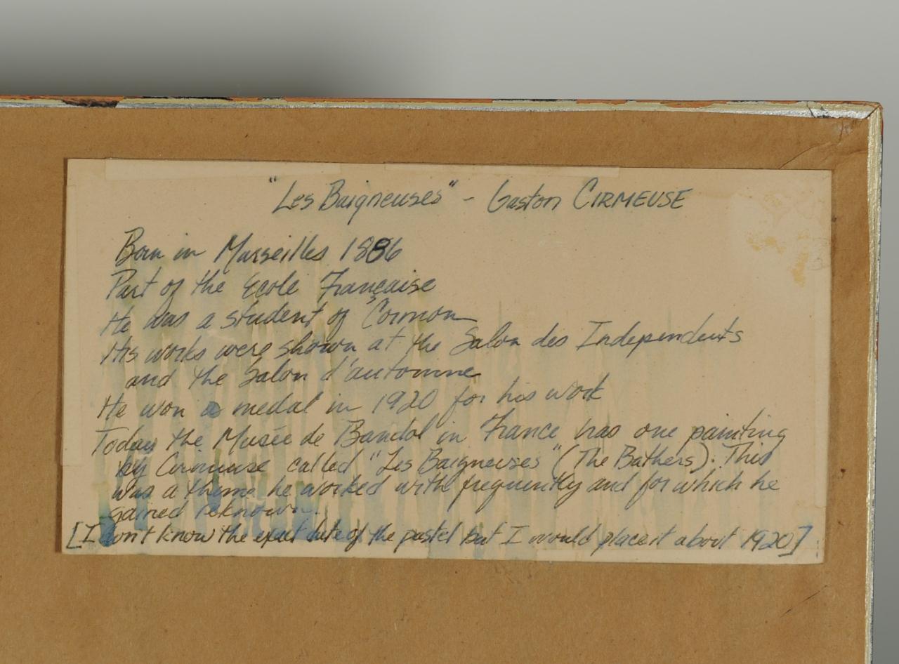"Lot 190: Gaston Cirmeuse pastel on paper, ""Les Baigneuses"""