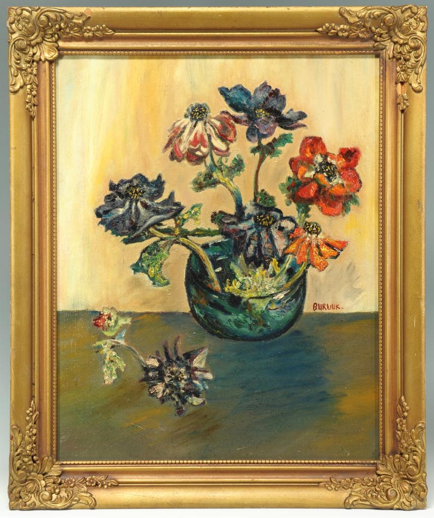 Lot 192: David Burliuk o/c still life with postcard