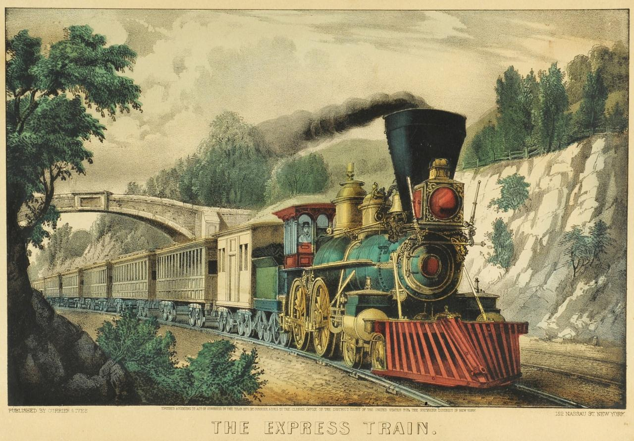 "Lot 197: Currier & Ives Print ""The Express Train"""