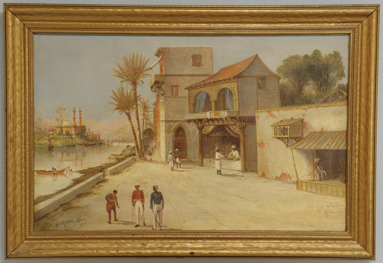 Lot 198: Daniel C. Grose oil on canvas, Indian Bazaar