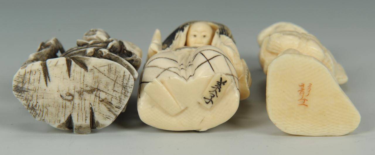 Lot 19: Japanese Ivory Netsukes & Okimono, 3 pcs.