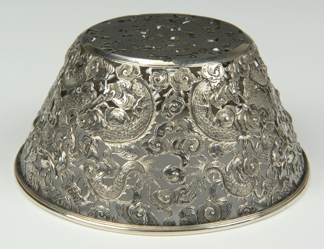 Lot 1: Chinese Export Silver Bowl, Dragon Design