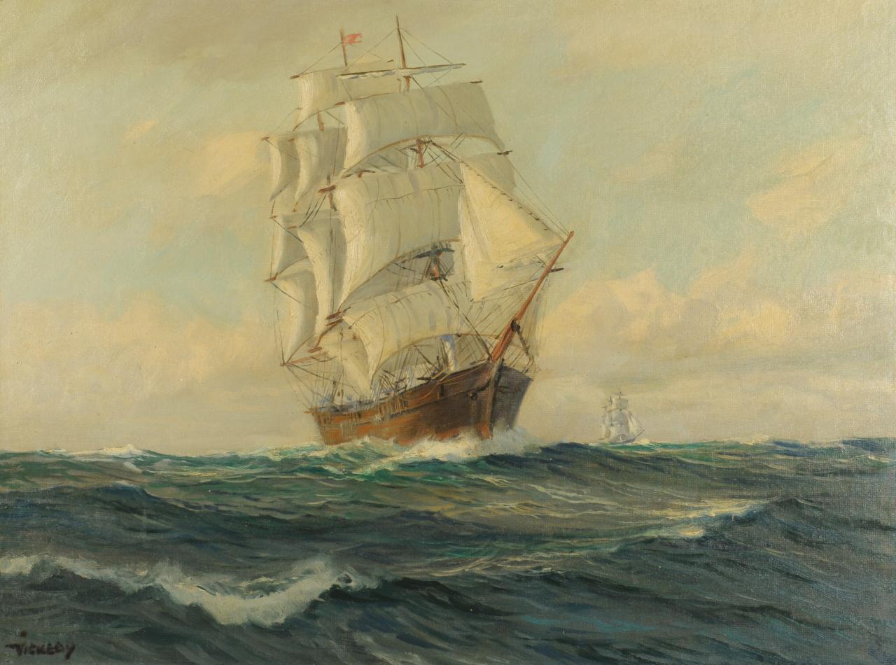 Lot 200: Charles Vickery Marine Painting