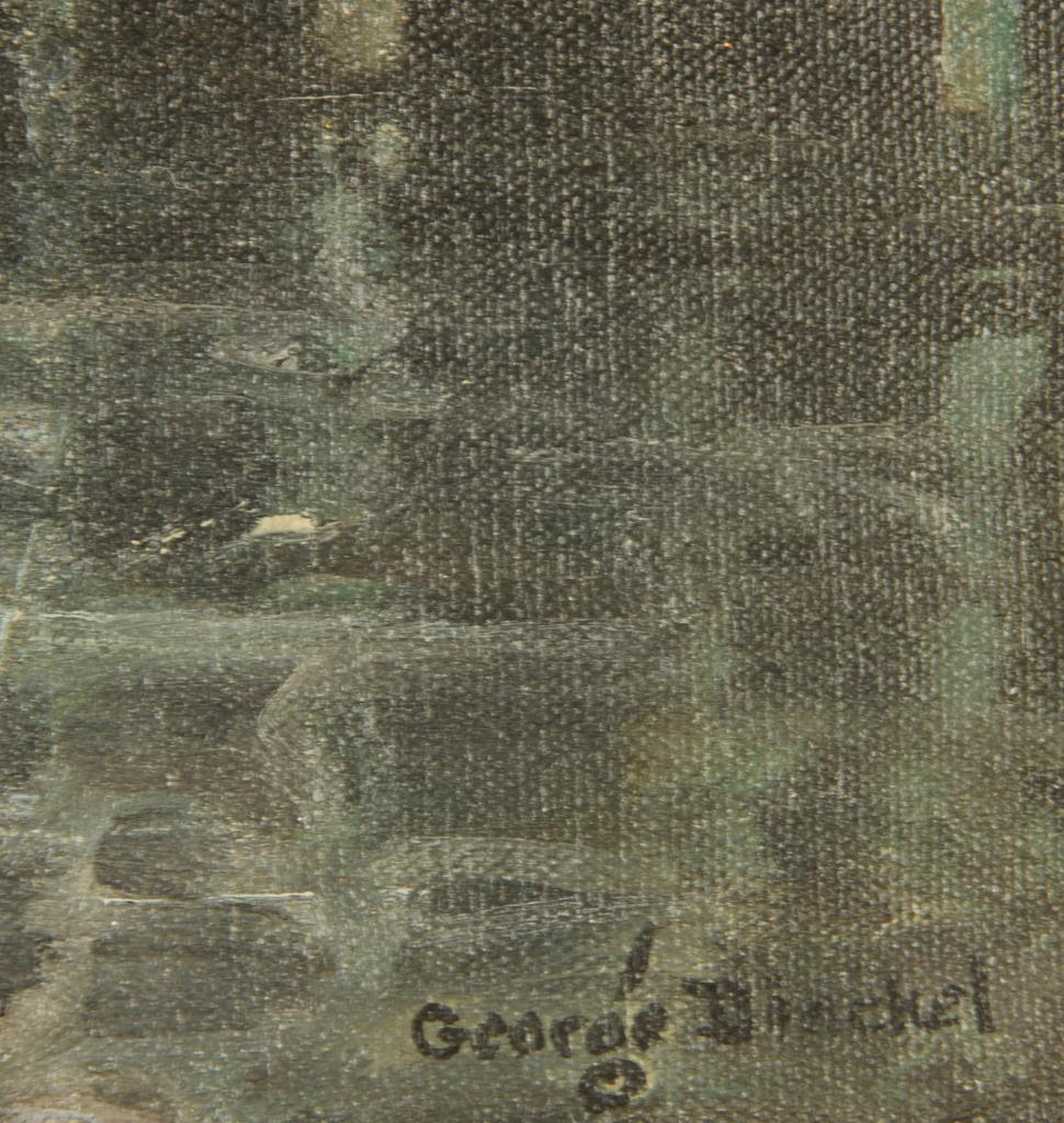 Lot 201: George Dinckel Harbor Scene Oil on Canvas