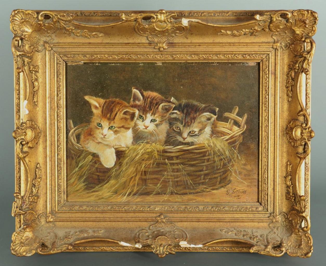 Lot 202: George Schill Oil on Board of Kittens