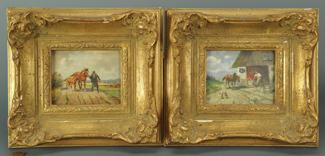Lot 203: Pair of Karl Rohrhirsch Miniature Landscapes