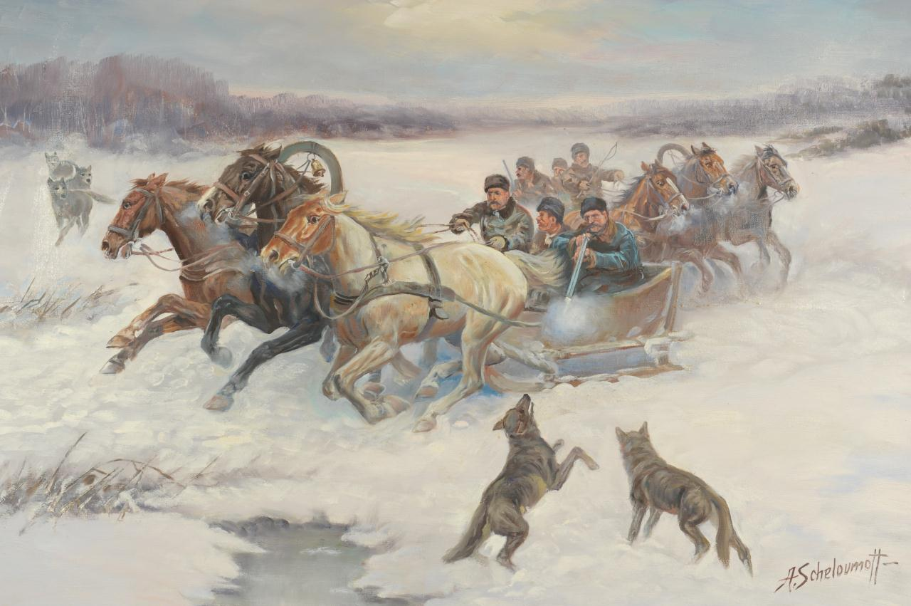 Lot 205: Russian Oil Painting, A. Scheloumoff