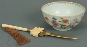 Lot 208: Chinese Ivory Letter Opener, Famille Rose Bowl