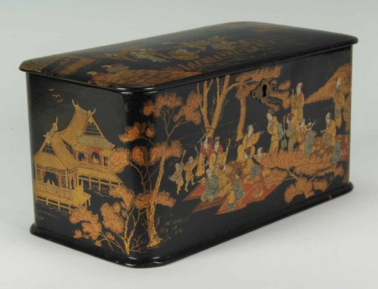 Lot 209: Japanese black lacquered tea caddy, late 19th c.