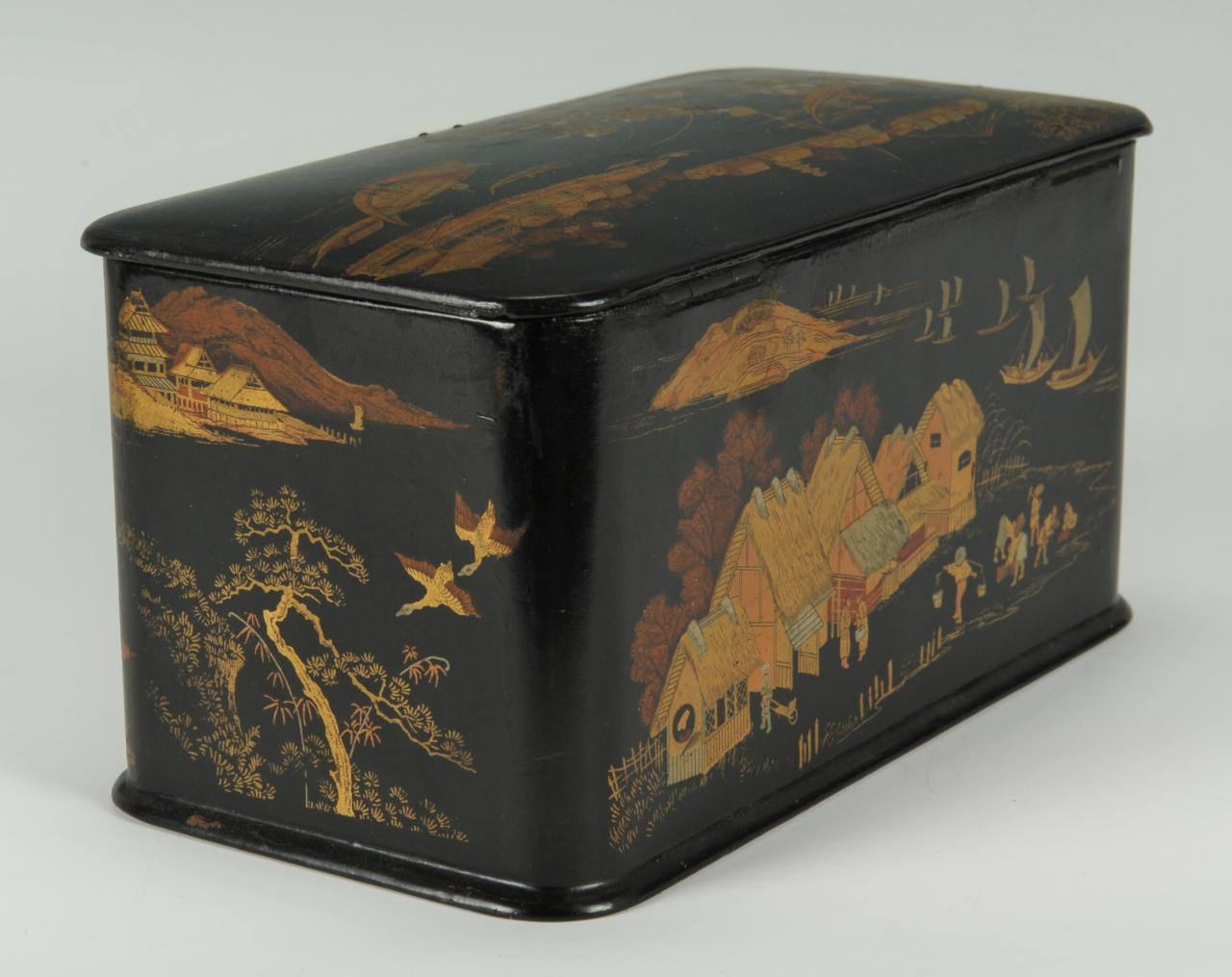 lot 209  japanese black lacquered tea caddy  late 19th c