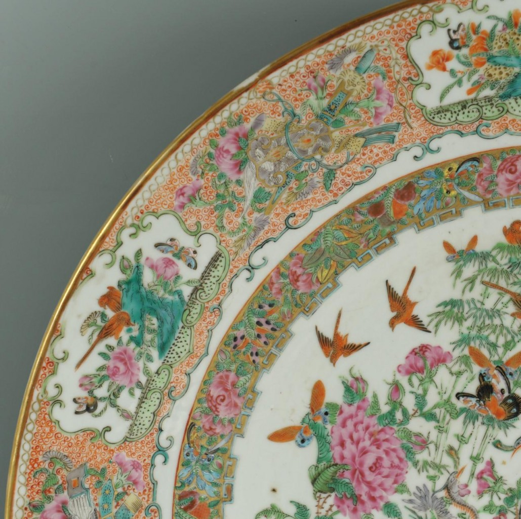 Lot 20: Large 18 in Chinese Famille Rose Charger, early 19