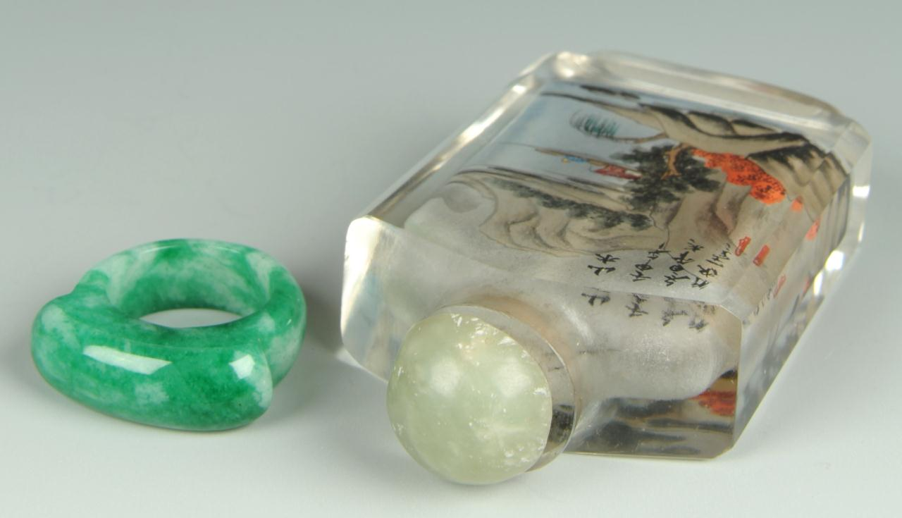 Lot 210: Reverse Ptd Glass Snuff Bottle & Jade Ring