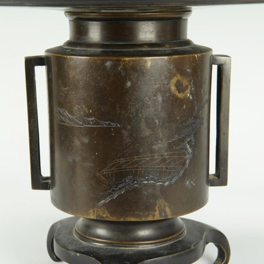 Lot 214: Japanese Meiji mixed metals inlaid usubata urn