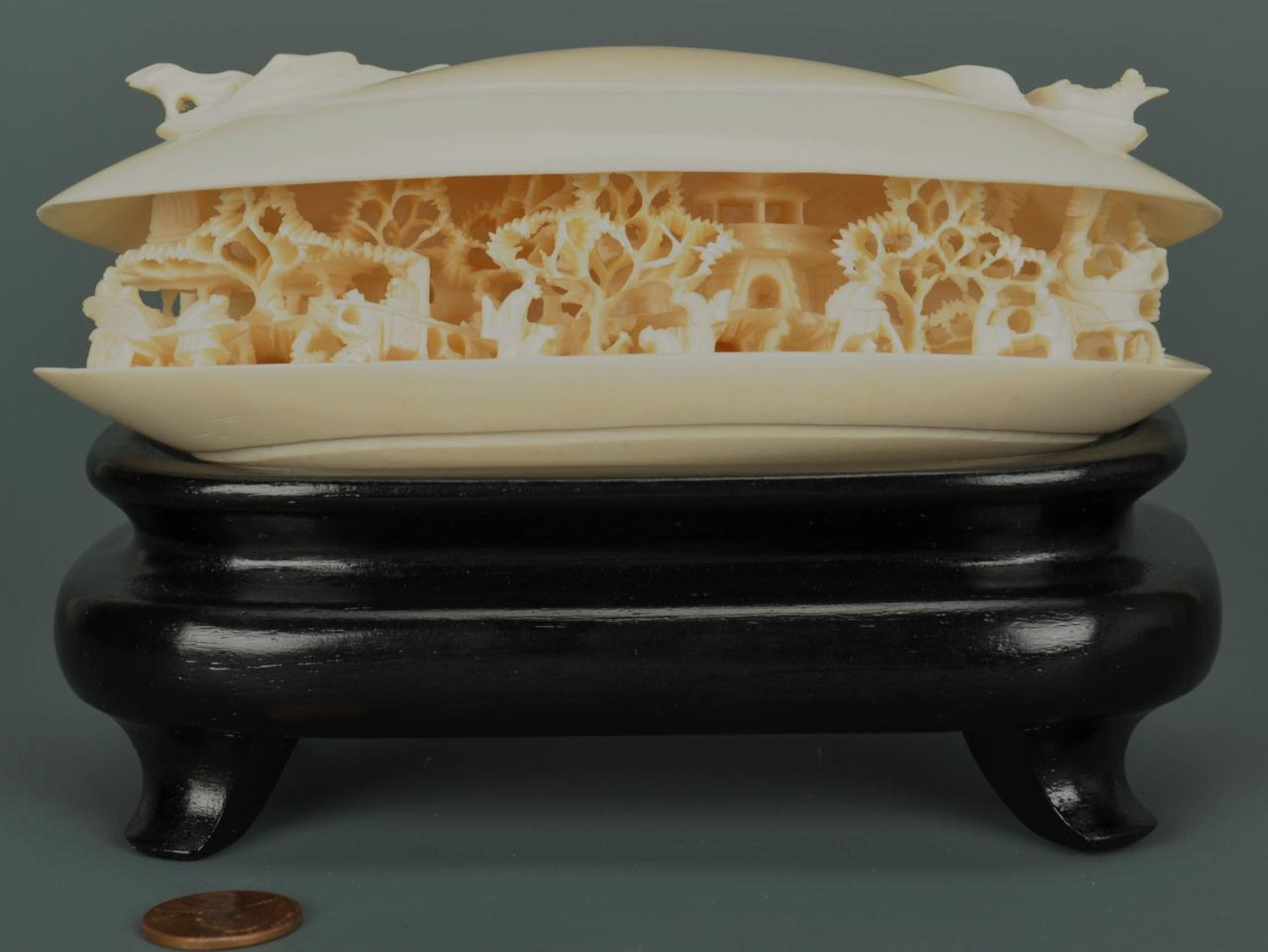 "Lot 215: Large Chinese carved ivory clamshell, 6""W"