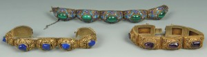 Lot 218: Three Chinese Silver and Stone Bracelets