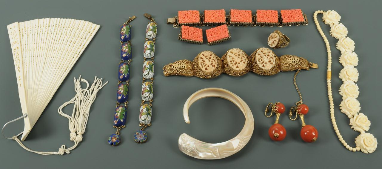 Lot 219: Group of Asian jewelry incl ivory