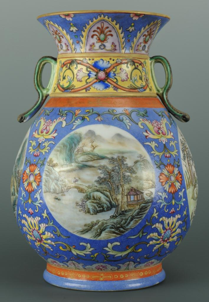 Lot 220: Chinese Famille Rose Vase w/ Twin Handles