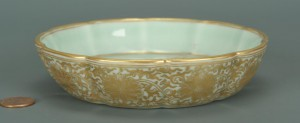 Lot 224: Chinese gilt-decorated celadon dish