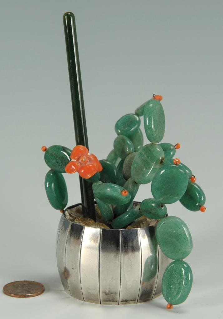 Lot 226: Chinese jade and coral tree in silver pot