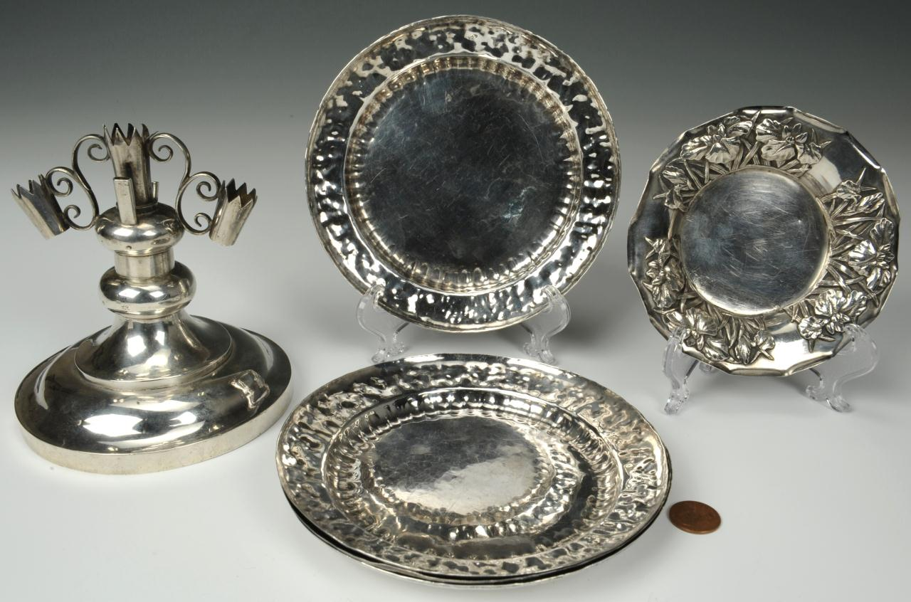 Lot 227: Grouping of Asian Silver Table Items, 6 total