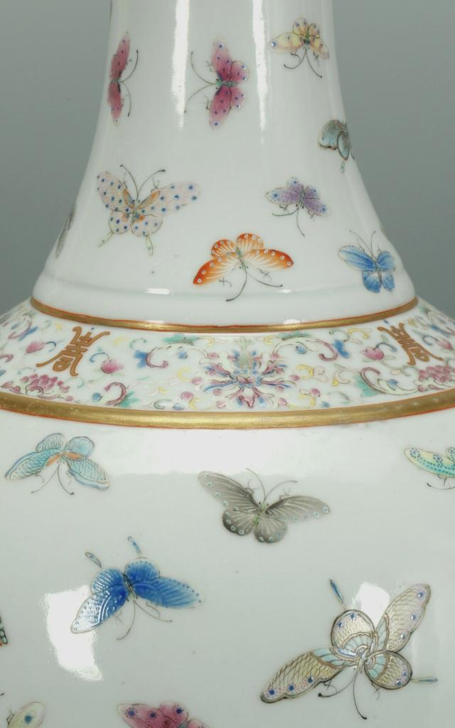 Lot 22: Large Famille Rose Vase, 100 Butterflies