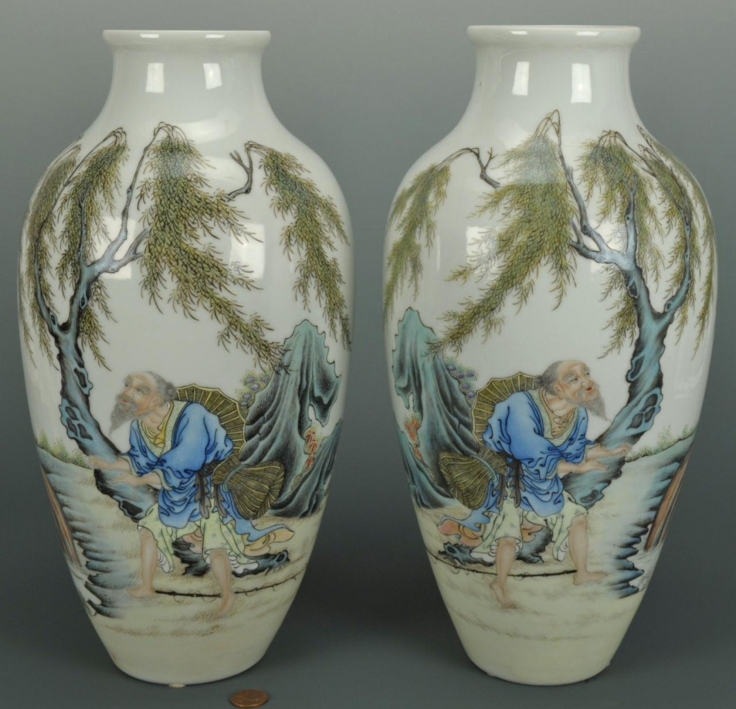 Lot 23: Pair of Chinese Republic Vases, fisherman